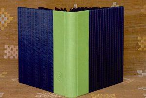 אלבום אירועים עור ירוק ובד כחול מבריק עם זהב