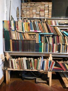 ספרים על מדפים עמוסים